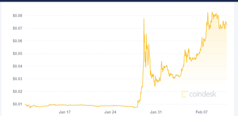 Coindesk crypto graph, Doge coin to the moon and back