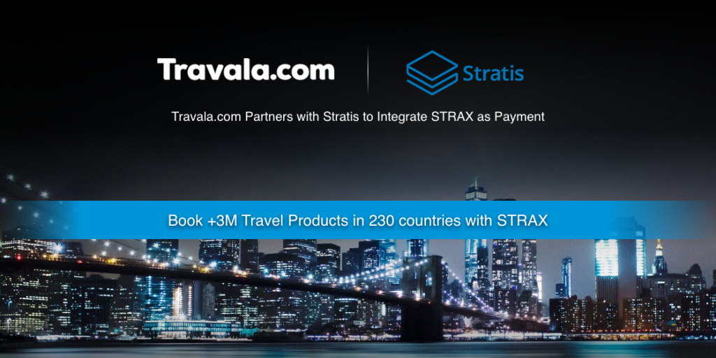 Big news from Travala - Partnership with Stratis to integrate STRAX